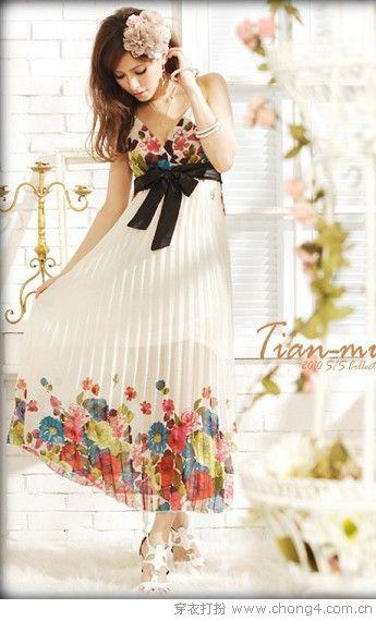 清凉雪纺连衣裙