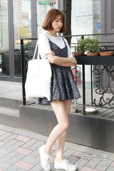 韩国街拍连衣裙搭配 恋上小清新风